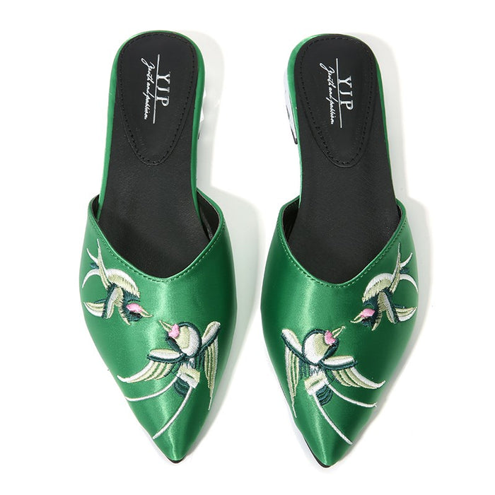 Green Vintage Embroidered Mules