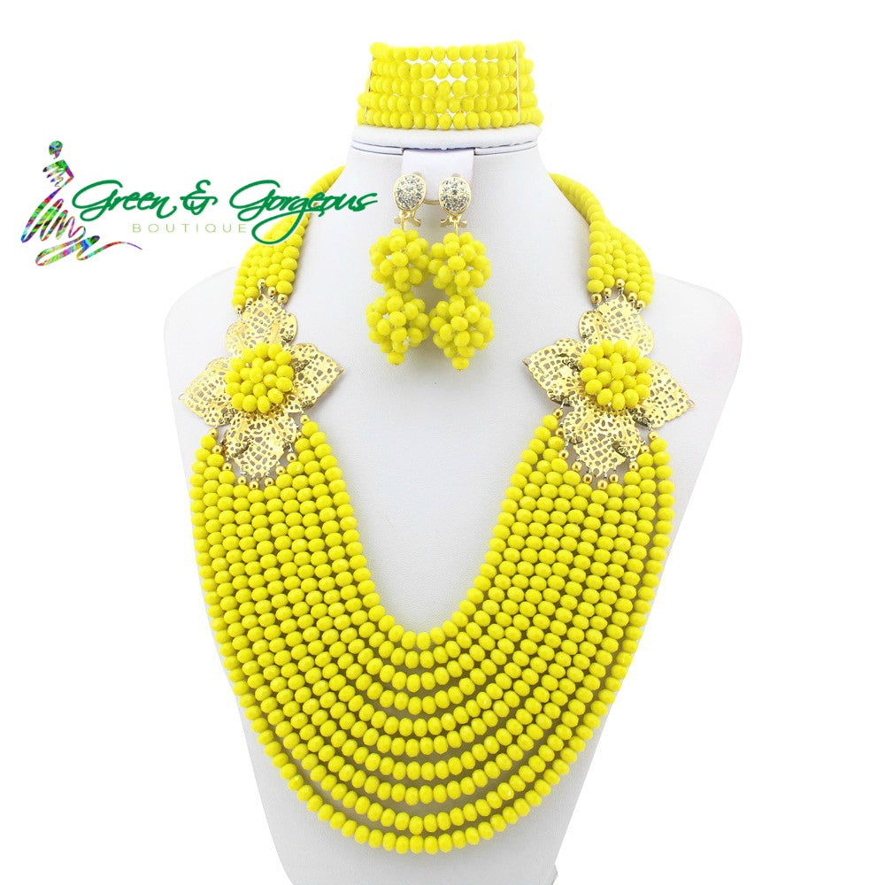 Yellow Large Couture Beads Jewelry Set