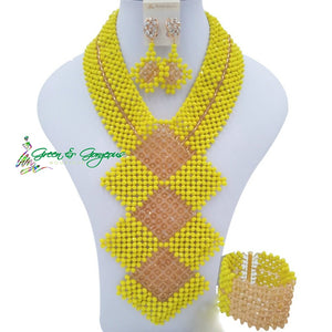 Yellow Haute Couture Beads Jewelry Set