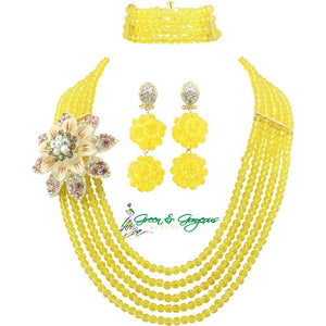 Yellow Wedding Beads Jewelry Sets
