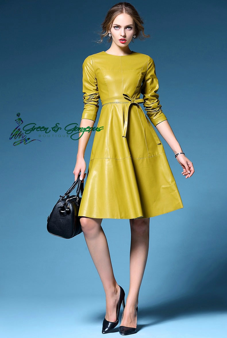 Yellow Faux Leather Dress Women