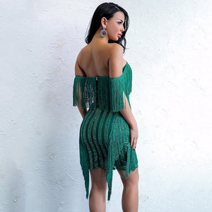 Green Off-the-Shoulder Tassel Bandage Dress