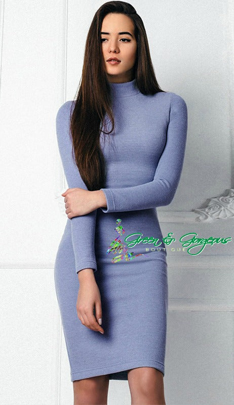 Blue Turtle Neck Bodycon Dress