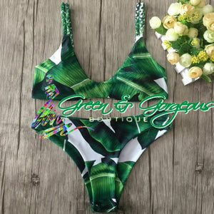 Tropical Green Leaf Print Two Piece Swimsuit - $24.95