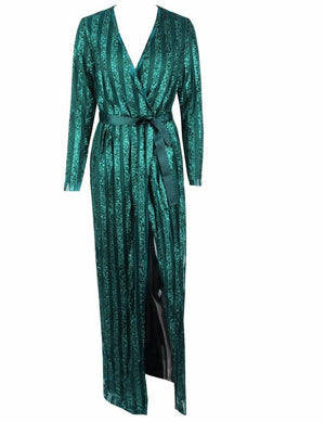 Green Sparkle Stripes Cross V-Collar Body Evening Gown