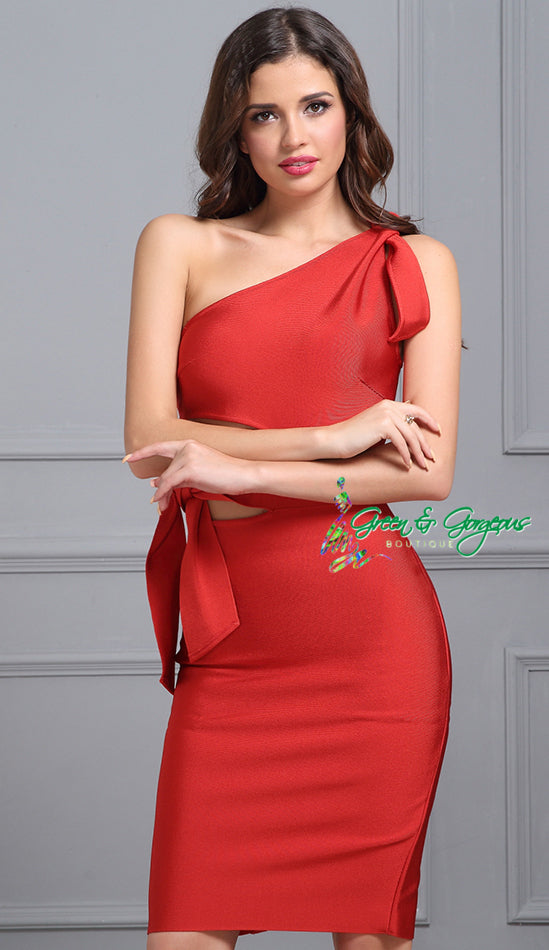 Red One Shoulder Tassel Dress