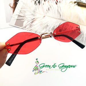 Red Small Retro Oval Sunglasses