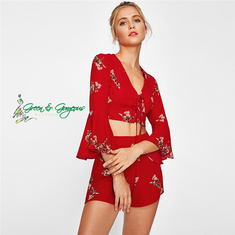Red Floral Two-Piece Top and Shorts Set