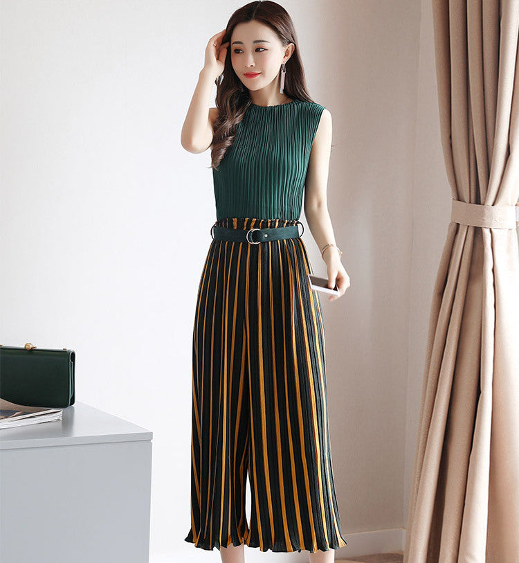 Green Sleeveless Pleated Top + High Waist Green and Yellow Striped Pants