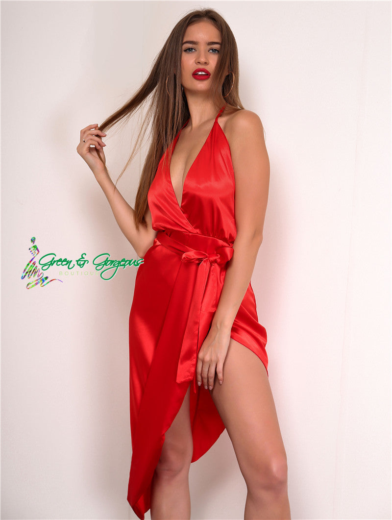 Red Backless Split Dress