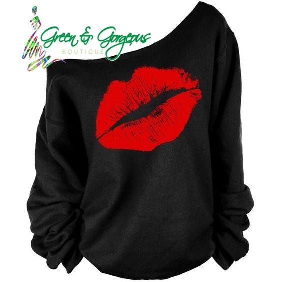 Red Sexy Lips Ladies Off Shoulder Plus Size Sweatshirt