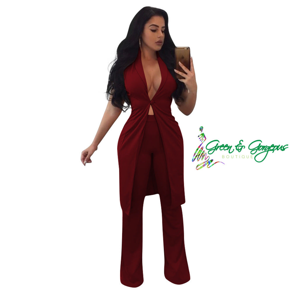 Red Long Vest and Pants Set