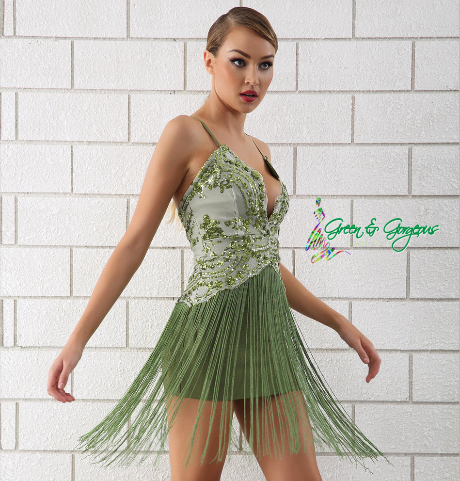 Green Spaghetti Strap Sequin Fringe/Tassel Dress