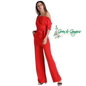 Red One Shoulder Jumpsuit