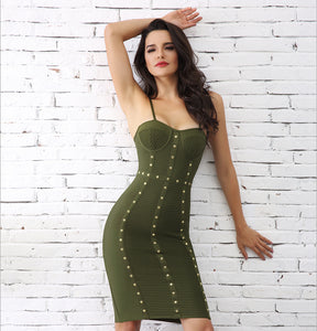 Green Buttoned Bodycon Dress