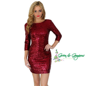 Red Long Sleeve Sequins Dress