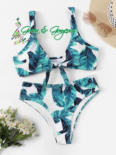 Tropical Green Leaf Printed Two Piece Swimsuit - $34.95