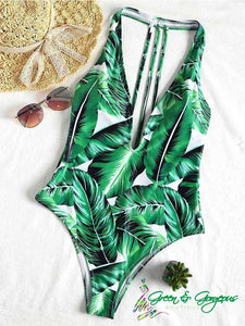 Tropical Green Leaf Print One Piece Swimsuit - $29.50