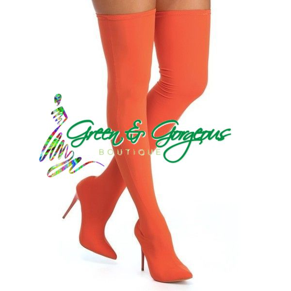 Orangeade Slice - Orange Pointy Toe Stiletto Heel Over-the-Knee Boots - $119.00