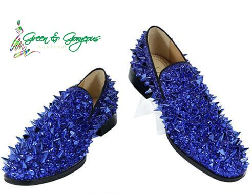 Blue Men's Loafers - Luxury Spikes Studded - $189.00