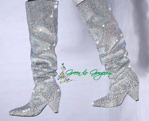 Queens Diamond - Black Luxury Diamond Studded Boots - $198.00