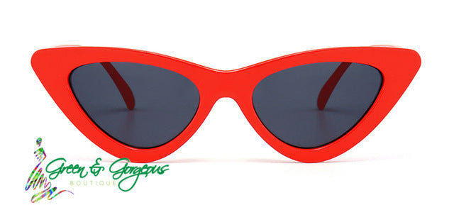 Red Retro Cat-Eye Sunglasses