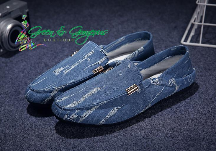 Men's Light Blue Jean Leisure Loafers | Slip-On Soft Casual Shoes
