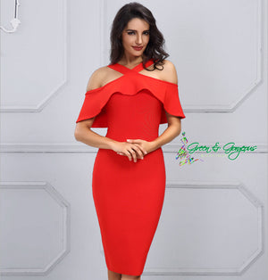 Red Ruffles Off-The-Shoulder Dress
