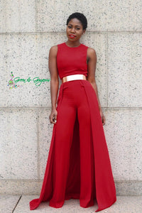 Red Sleeveless Jumpsuit