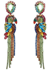 Rhinestone Amazon Parrot Earrings Media