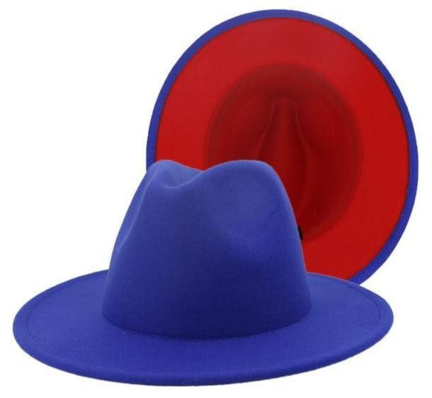 BLUE AND RED FEDORA