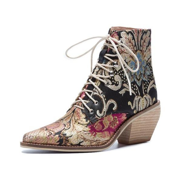 Luxury Black Multi-Colored Flower Lace-Up Silk Booties