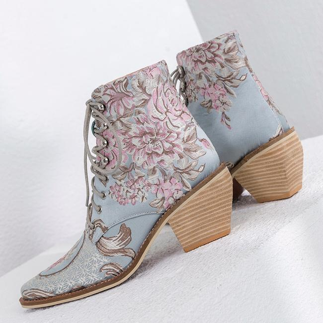 Luxury Sky Blue & Pink Embroidered Lace-Up Silk Booties