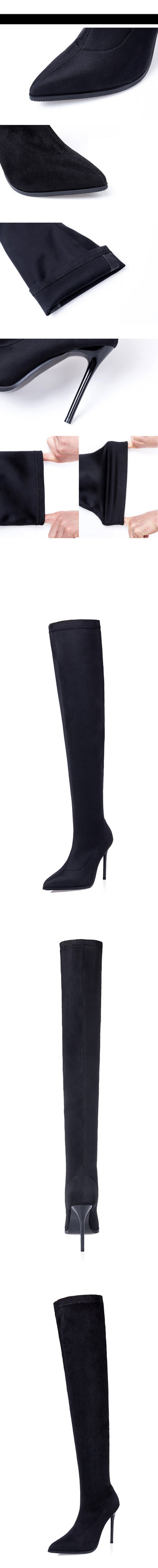 Walking Tall - Black Pointy Toe Stiletto Heel Over-the-Knee Boots - $119.00