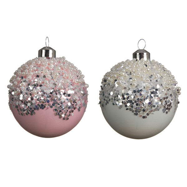glass bauble pearls 2col ass