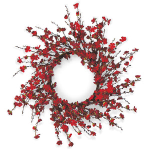 Red Cherry Blossom Wreath 24''
