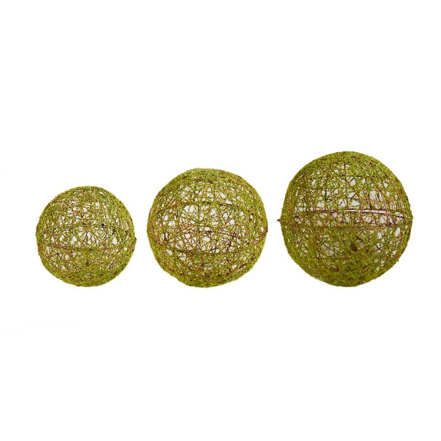 Green Mossy Round Wire Ball Ornaments
