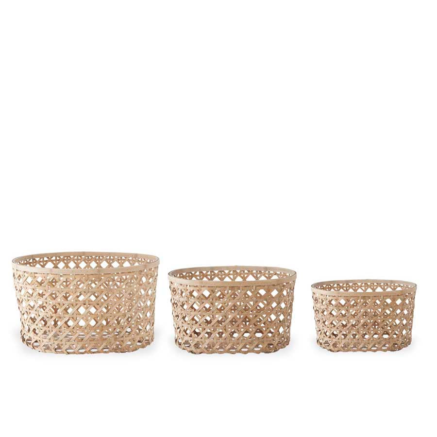 Set of 3 Open Weave Bamboo Oval Nesting Baskets