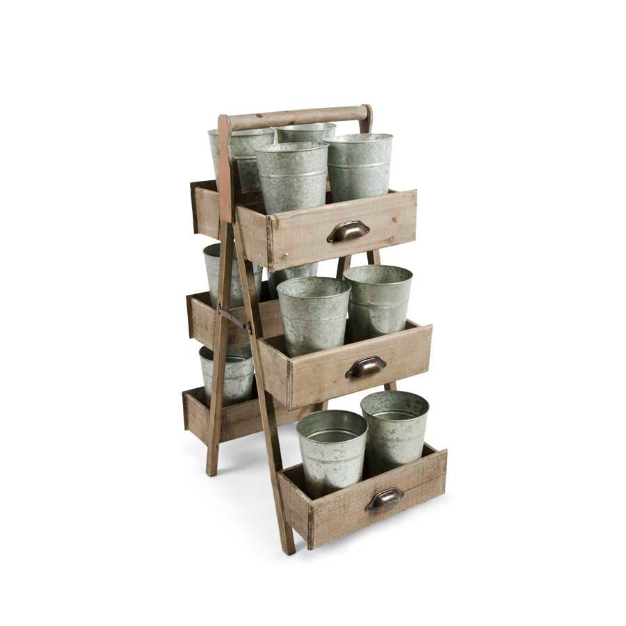 34.5 Inch Double Wooden Planter Stand Display