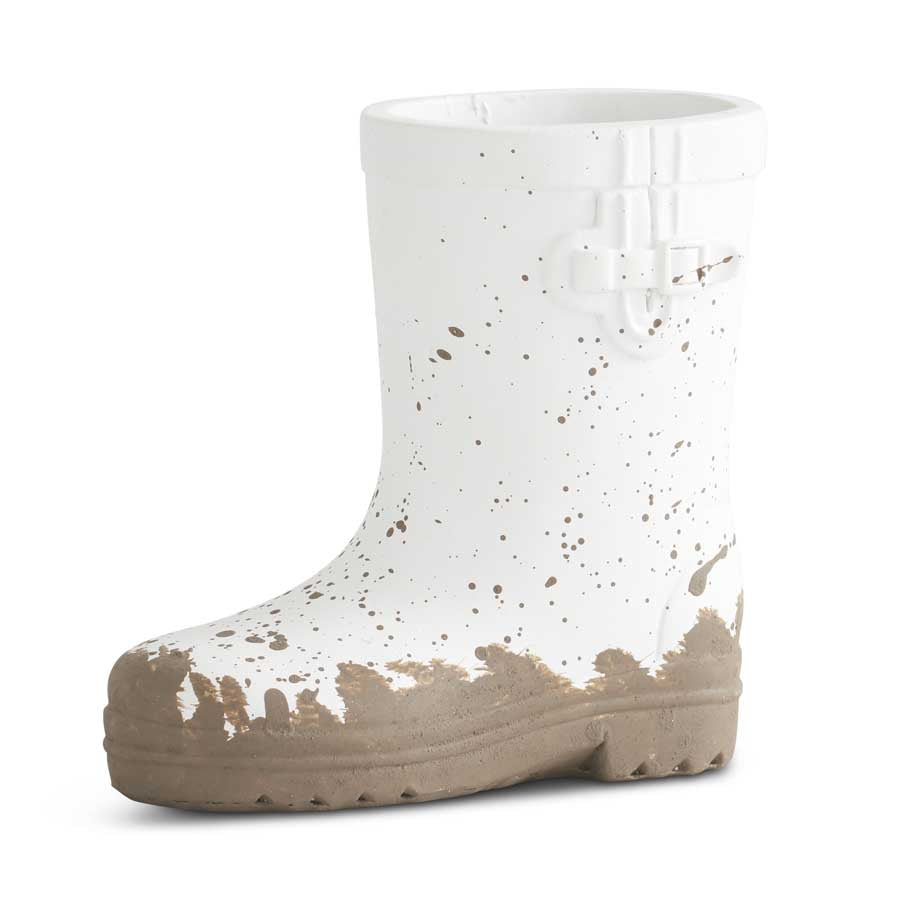4.25 Inch White Resin Rainboot