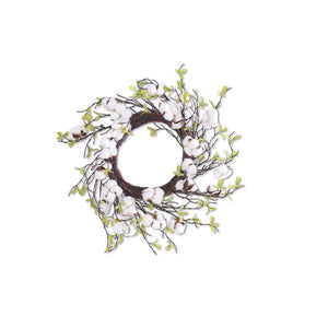 Cotton Wreath with Leaves 27""