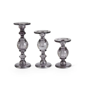 Set of 3 Gray Glass Candlesticks (3 Styles)