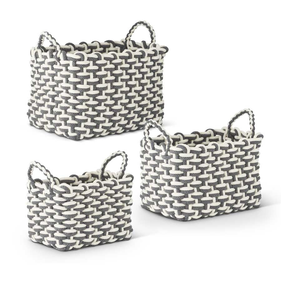 Set of 3 Steel Gray Cotton Rope Woven Baskets with Handles (Grad Sizes)