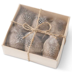 5.25 Inch Box of 6 Tan Felt Egg Ornaments w/Twine and Feathers