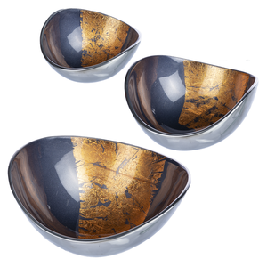 Indigo with Copper Leaf Brush Dip Bowl (3 pc. set)
