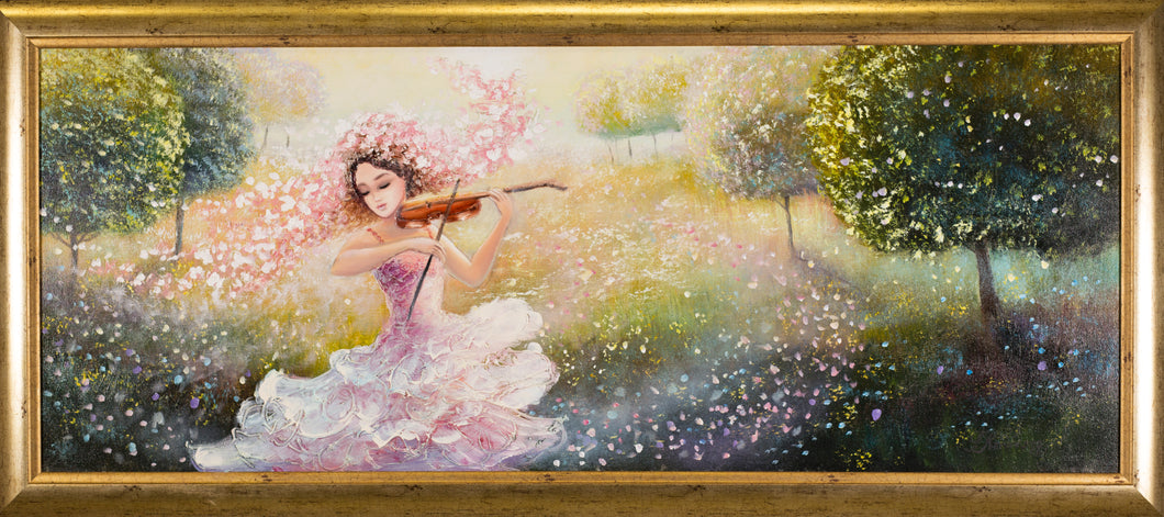 Girl with violin oil on canvas