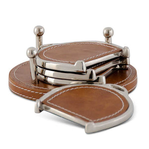 Set of 4 5.75 Inch Brown Leather Stitch Horse Bit Coasters
