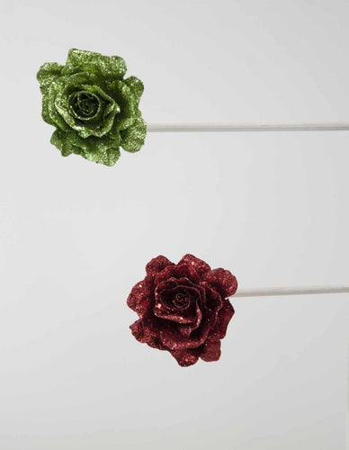 Glitter Rose Clip Red/Green