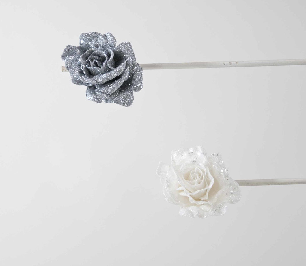 Icy Rose Clip Ornament