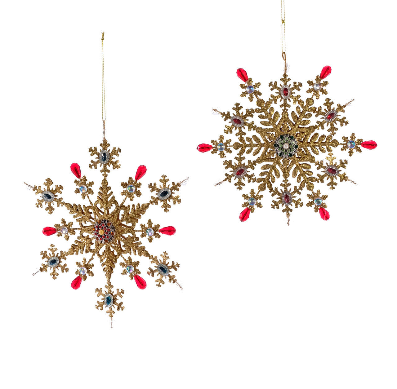 Lg Jeweled Gold Snowflake Orn 2A